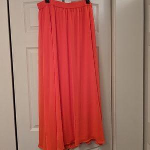 Elastic waist bright orange maxi skirt